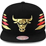 ca629d90 Mitchell & Ness Chicago Bulls Snapback Hat Cap Black/Gold & Red Diamond  Side/