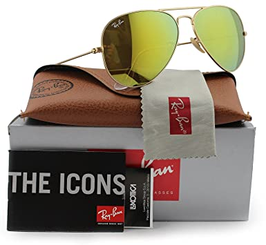 922e5ea5af Image Unavailable. Image not available for. Color  Ray-Ban RB3025 Aviator  Sunglasses Matte Gold w Brown Gold Mirror (112