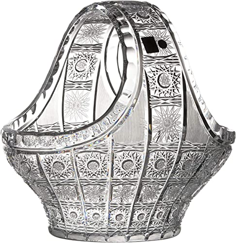 Czech Bohemian Crystal Glass Bowl-Vase Basket 10″ Hand Cut Vintage Lace Design Elegant Centerpiece Fruits Desserts Flowers Decorative Home Decor Birthday Wedding Housewarming