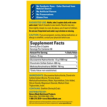 Nature Made Triple Flex Triple Strength Caplets 120 Count For Joint Support Packaging May Vary