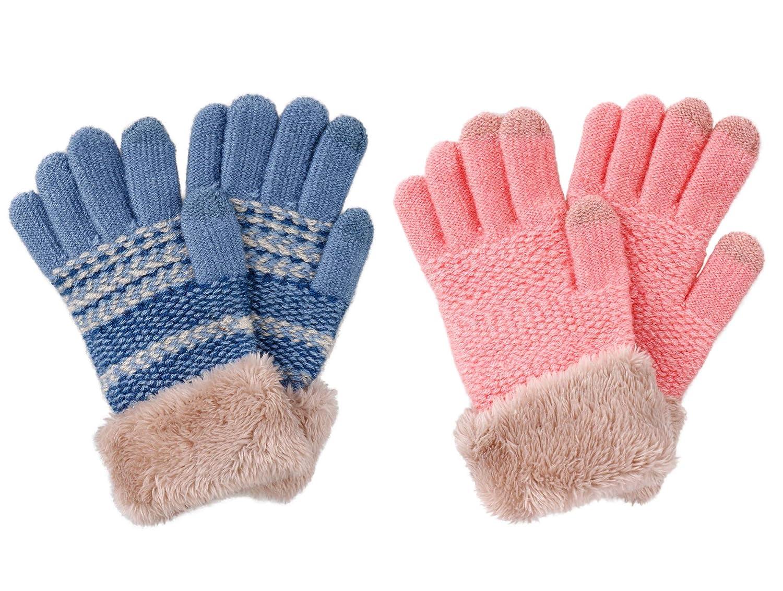 Verabella 2/3 Pack Kids Magic Stretch Touchscreen Winter Knit Gloves w/Faux Fur Cuff
