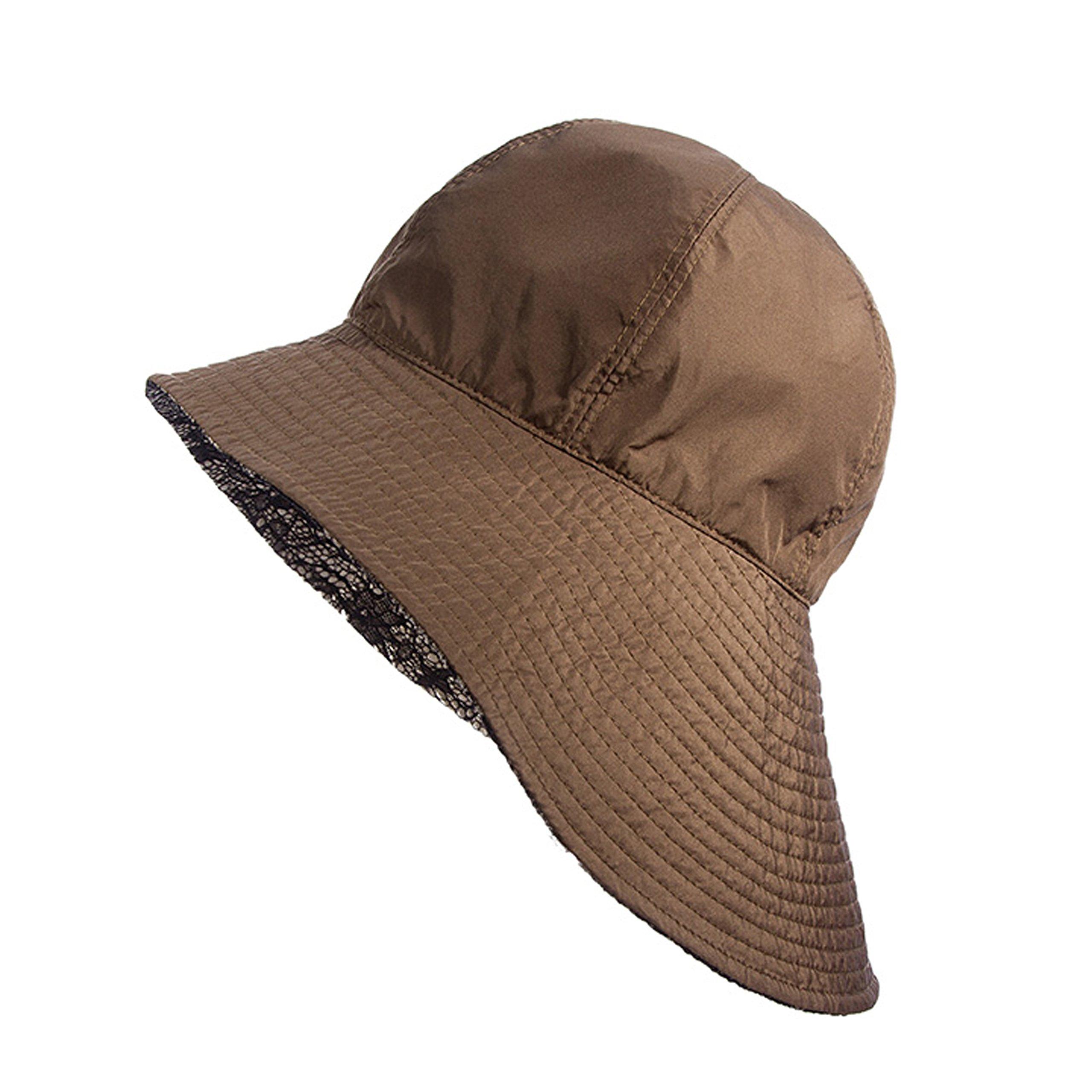 Scala BIG Brim Rain with Lace Under Hat (Taupe)