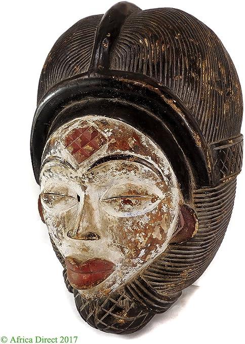 Punu Maiden espíritu máscara mukudji blanco cara Gabón arte ...