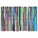 "DII Contemporary Reversible Indoor Area Rag Rug, Machine Washable, Handmade from Recycled Fabrics, Unique For Bedroom, Living Room, Kitchen, Nursery and more, 20 x 31.5"" - Multi Colored"