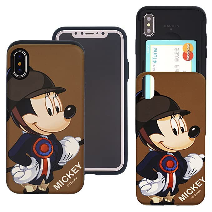 on sale 0f300 49c2c iPhone Xs Case/iPhone X Case Disney Cute Slim Slider Cover : Card Slot Dual  Layer Holder Bumper for [ iPhone Xs/iPhone X (5.8inch) ] - Riding Mickey ...