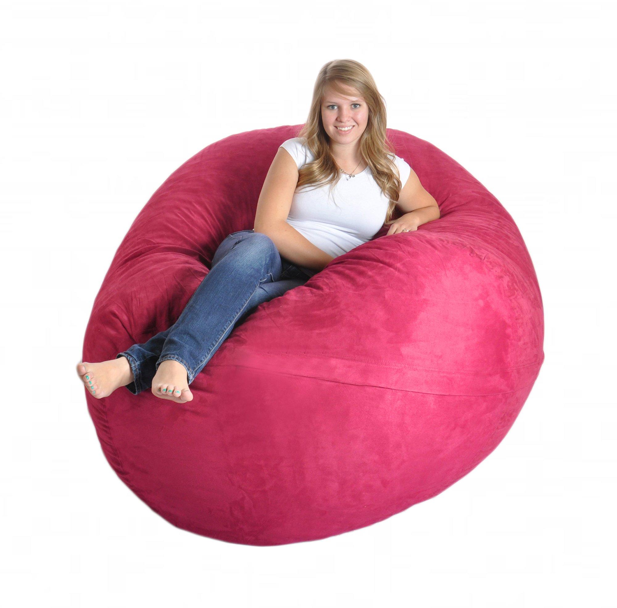 SLACKER sack 6-Feet Foam Microsuede Beanbag for Girls, X-Large, Hot Pink