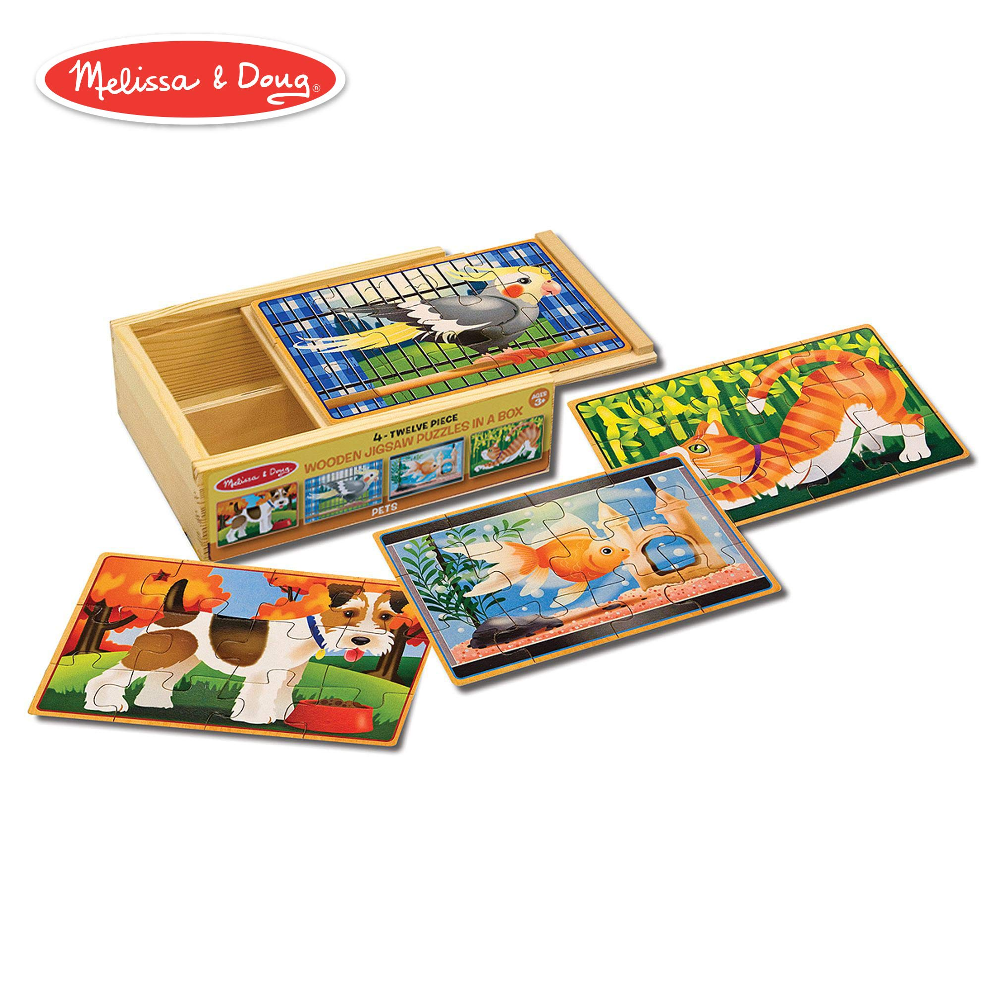 Melissa & Doug Pets Jigsaw Puzzles in a Box (Four Wooden Puzzles, Sturdy Wooden Storage Box, 12-Piece Puzzles, 8'' H x 6'' W x 2.5'' L) by Melissa & Doug