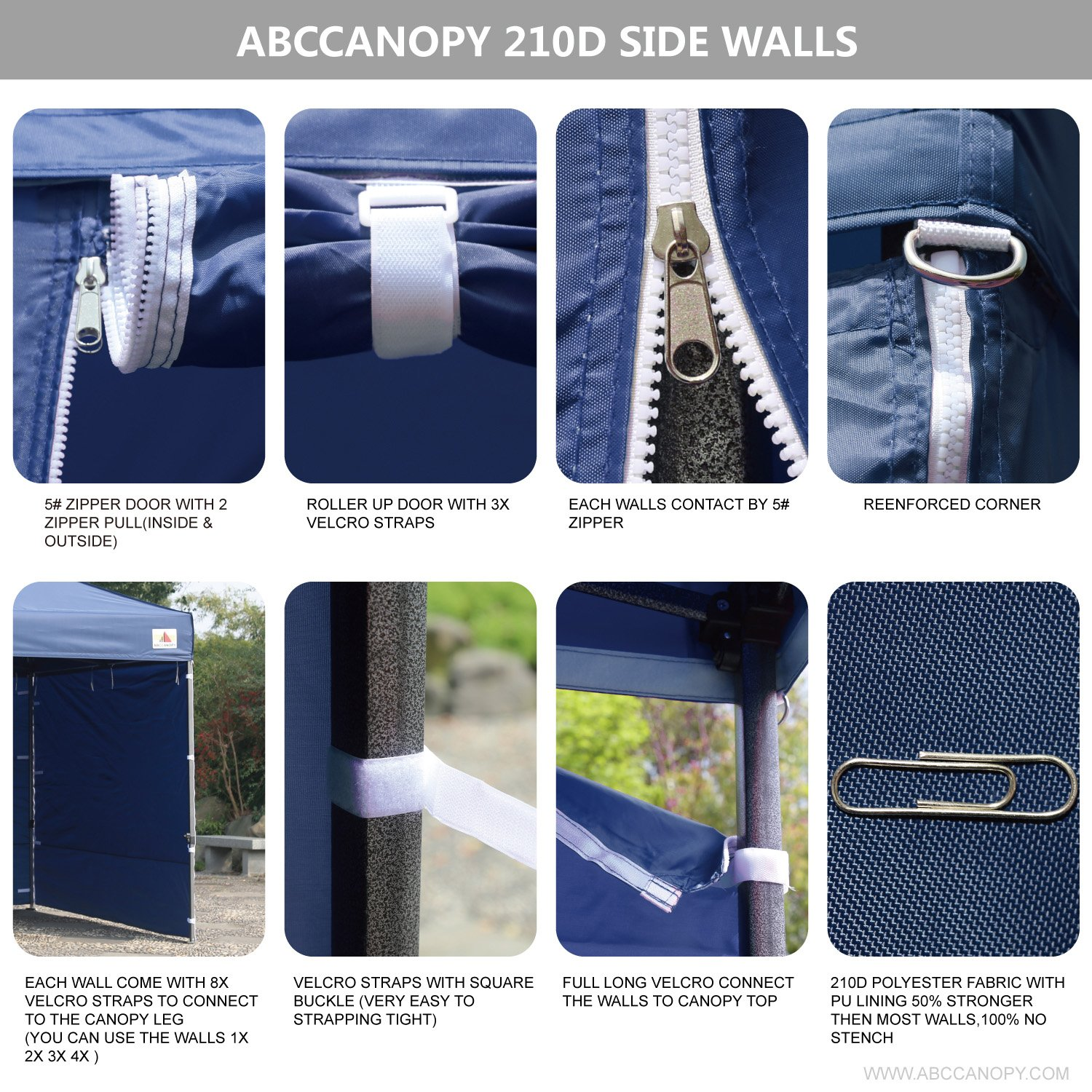 AbcCanopy Commercial 10x10 Instant Canopy Craft Display Tent Portable Booth Market Stall with Wheeled Carry Bag & Full Walls , Bonus 4x Weight Bag & 10ft Screen Wall & 10ft Half Wall (NAVY BLUE) by abccanopy (Image #5)