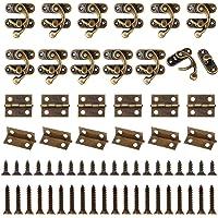 Chudian 40 stuks antieke haakse sluitingen, 70 stuks mini retro scharnieren voor houten kist en juwelendoos, met 440…