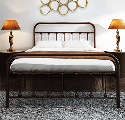 best service ec340 720a2 TEMMER Metal Bed Frame Full Size with Headboard and Stable Metal Slats  Boxspring Replacement/Footboard Single Platform Mattress Base,Metal Tube  and ...