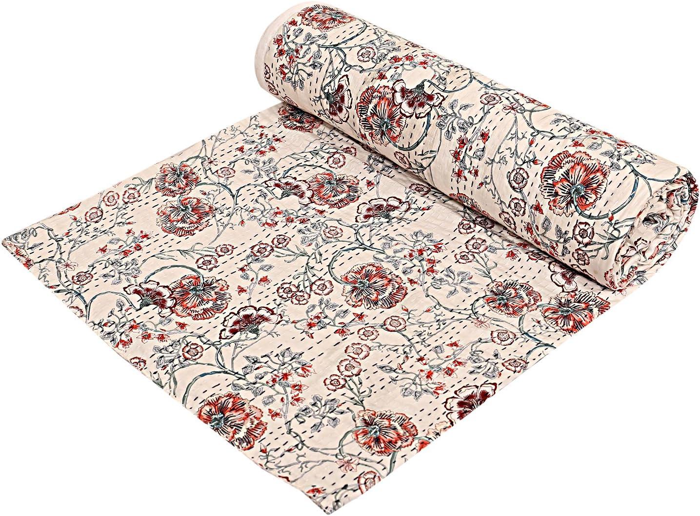 exclusif Indian Queen Gudri faite /à la main Couette vintage Tropican Kantha propagation Couvre-lit couverture en coton Taille 90 x 108 Bohemian Kantha Bohemian Couvre-lit