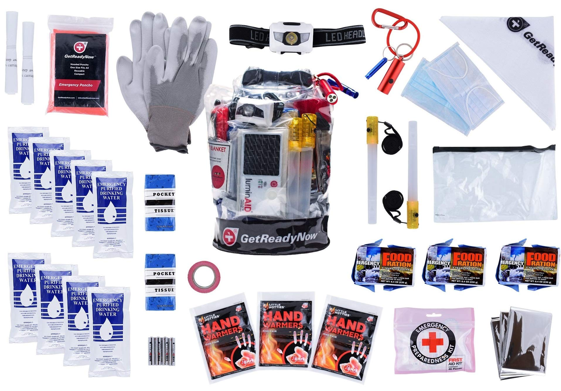 GETREADYNOW 72-Hour kit Grab & Go Emergency Kit with Essential Survival Supplies for 3 Days - Hurricane, Earthquake, Tornado Disaster Preparedness Kit - Heavy Duty Waterproof Bag by GETREADYNOW