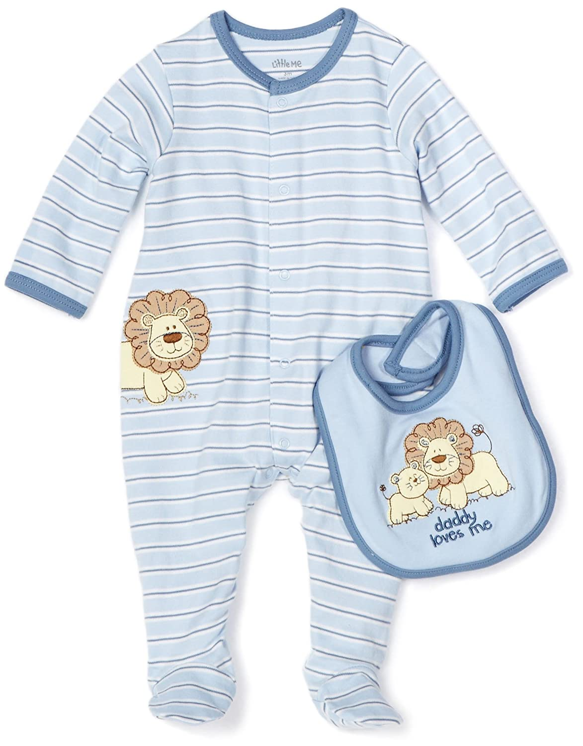 Amazon Little Me Baby Boys Newborn Lovable Lion Footie And Bib Light Blue Stripe 3 Months Infant Toddler Bodysuit Footies Clothing