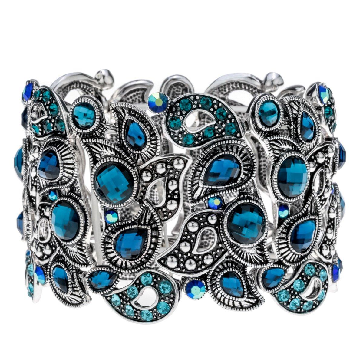 Angel Jewelry Women's Crystal Skull Stretch Cuff Bracelet