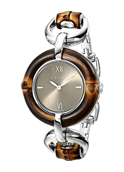 ef37a428eda Gucci Bamboo Brown Dial Stainless Steel Ladies Watch YA132402  Amazon.ca   Watches
