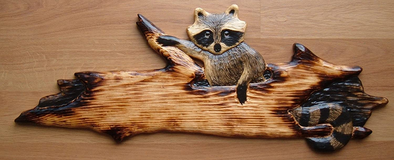 Amazon.com: raccoon in a log chainsaw cabin decor wall art wood