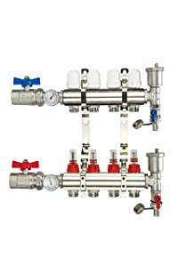 WiseWater 4 Loop PEX/Radiant Manifold, 1/2 In and 3/4 In Compatible Outlets, Up to 1.6 GPM Flow Valve for Hydronic Radiant Floor Heating, Nickeled Brass
