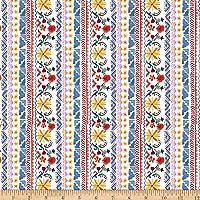 Michael Miller La Vida Loca Siesta Stripe Fabric, White