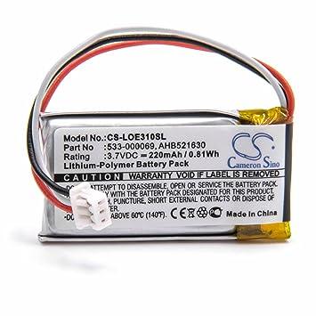 vhbw Litio Polímero Batería 220mAh (3.7V) para Auriculares inalámbricos Cascos como Logitech AHB521630