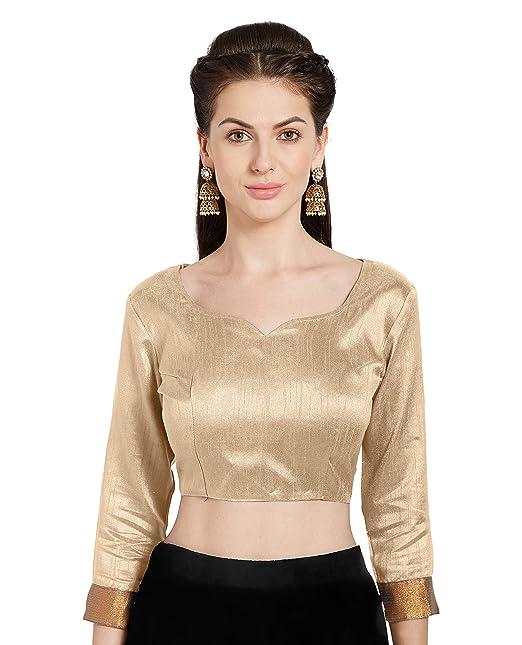 f2691eaacb312 SOURBH Women s Beige Art Silk Readymade Party Saree Blouse Stylish Choli  Mirchi Fashion Top