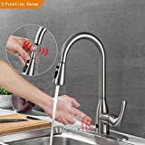 Touchless Kitchen Faucets with Pull Down Sprayer Brushed Nickel One-Handle High Arc Pullout Kitchen Sink Faucet with Innovative Dual-mode Sensor and Deck Plate, Best Commercial Kitchen Faucet