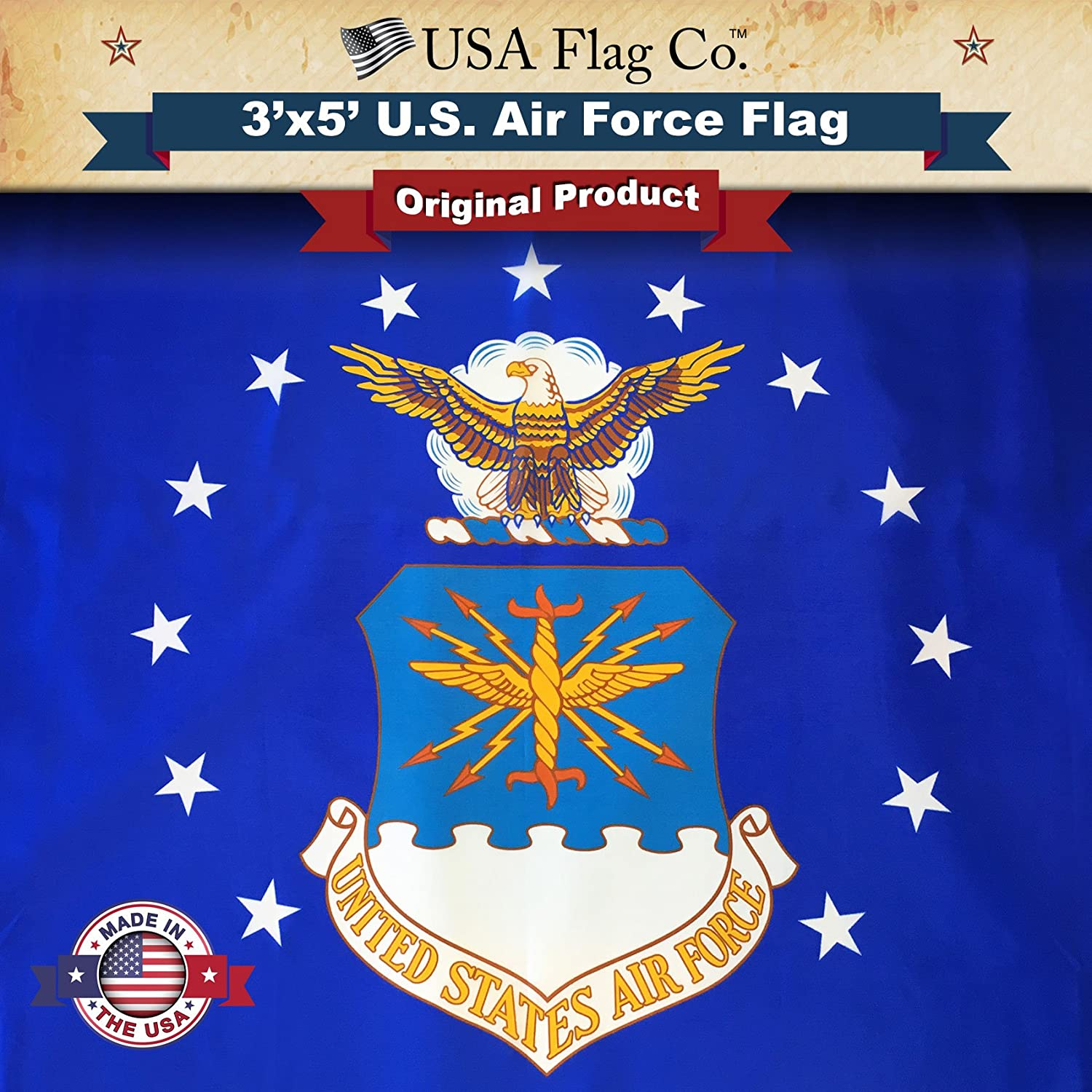 USA Flag Co. US Air Force Flag is 100% American Made: The Best 3x5 Outdoor USAF Flags, (Made in USA) for Prime Members and Amazon A to Z Guarantee.