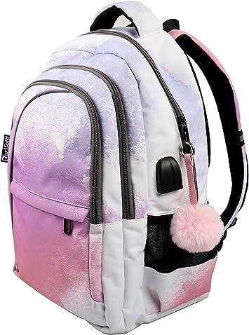 Tarifold FR 511343 - Set Color Dream: 1 mochila + 1 estuche para lápices + 1 pompón llavero a juego | Compartimento de ordenador, tableta, conexión multimedia (USB y auriculares): Amazon.es: Electrónica
