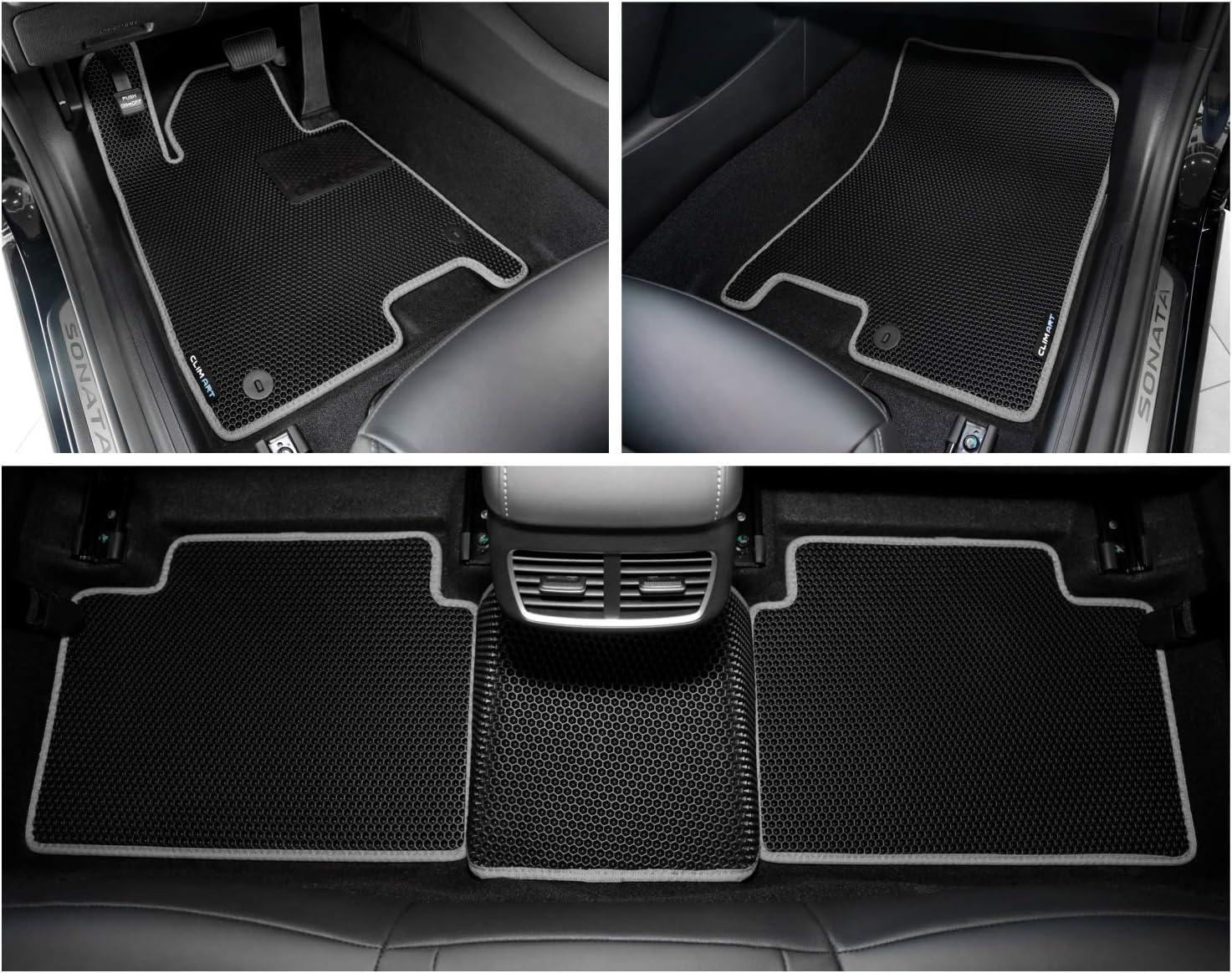 1st /& 2nd Row Car Accessories for Man /& Woman Car Mats Floor Liner Tapetes para Autos All-Weather Black//Black CLIM ART Honeycomb Custom Fit Floor Mats for Hyundai Sonata 2020 FL011520039