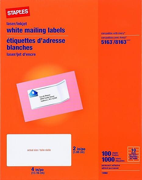Staples White Inkjet/Laser Shipping Labels, 2