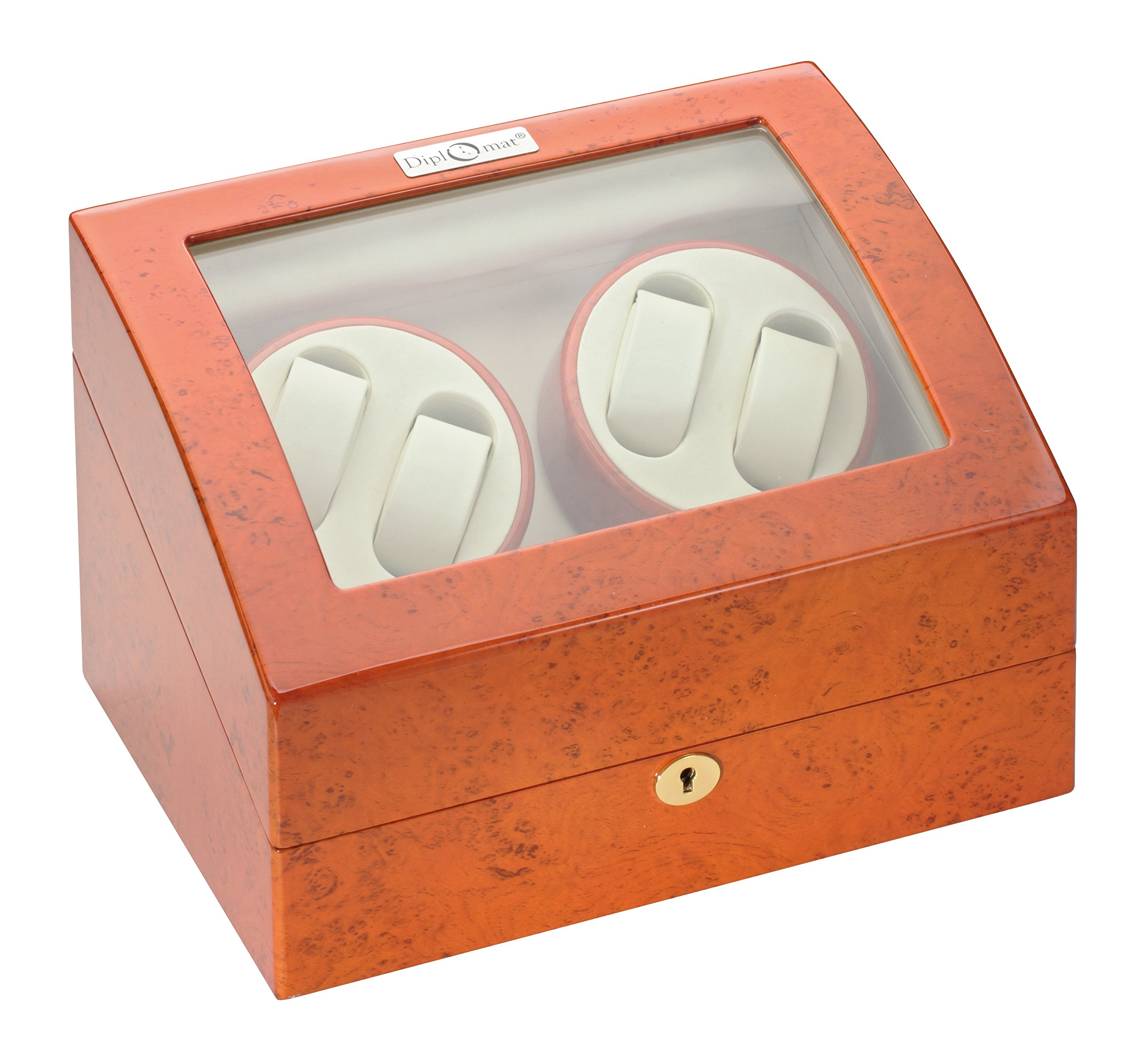 Diplomat 31-415 Burl Wood Quad Watch Winder with Off-White Leather Interior