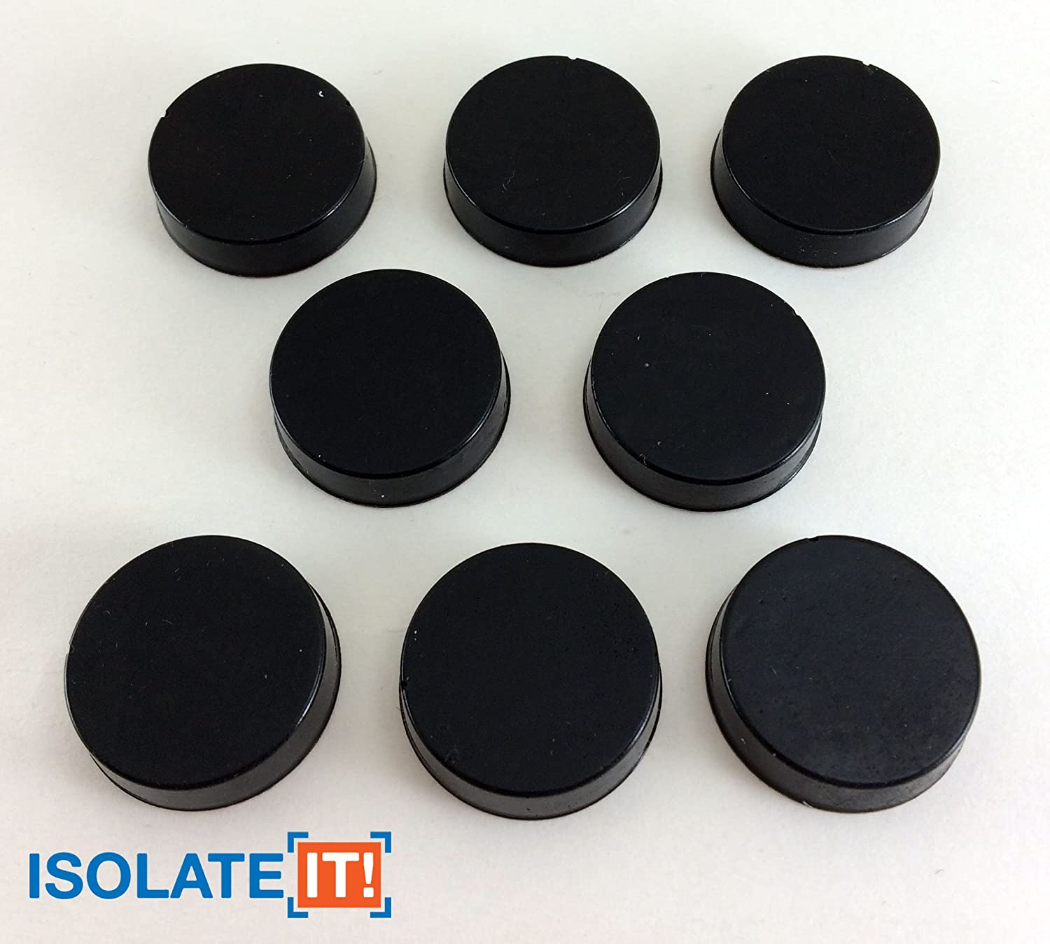 """Isolate It: Sorbothane Vibration Isolation Circular Disc Pad 0.25"""" Thick 1"""" Dia. 50 Duro - 8 Pack"""