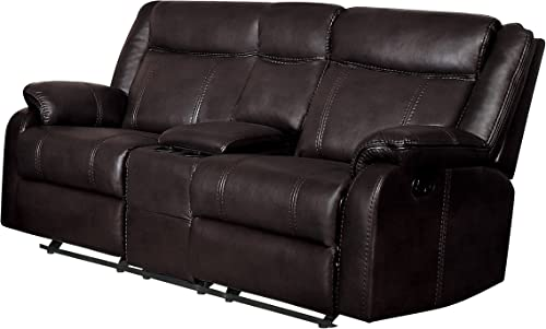 Homelegance Jude 73″ Manual Leather Gel Reclining Loveseat