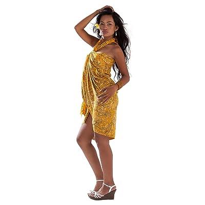 1Monde Paréos pour femme abstraite en filigrane en maillot de bain Cover-Up Sarong en jaune