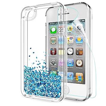 b3a8ccd24c8 LeYi Funda iPhone 4 / 4S Silicona Purpurina Carcasa con HD Protectores de  Pantalla,Transparente