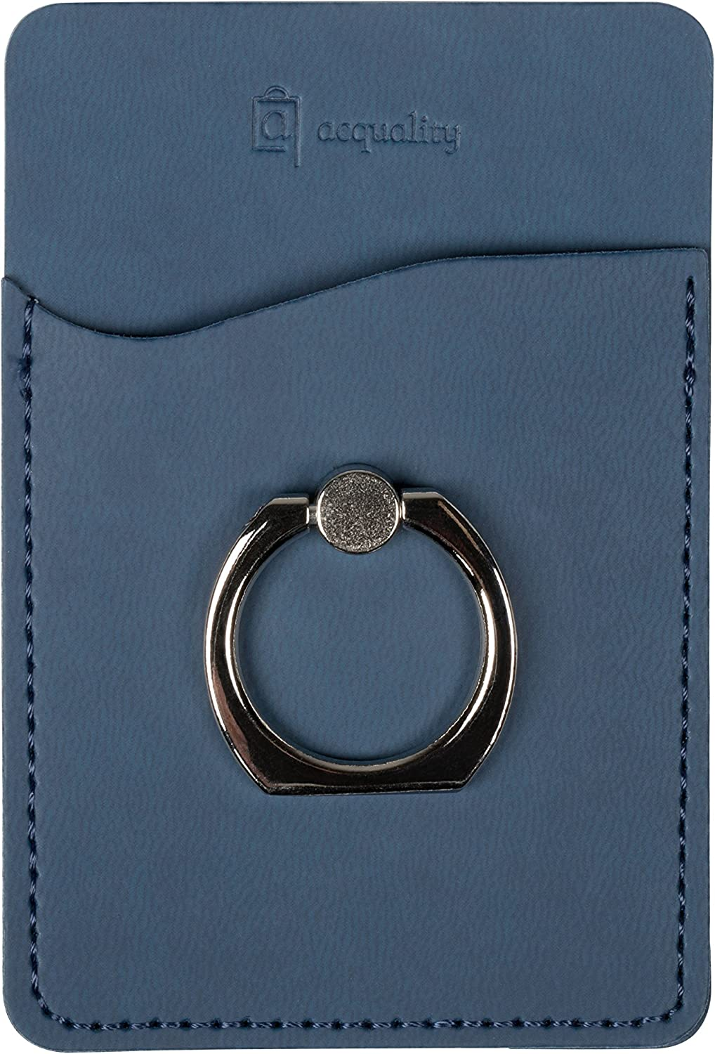 Acquality PU Leather Cell Phone Wallet/Pocket/Card Holder with Ring Stand for Mobile Devices, Adhesive Sticker Back (Blue)