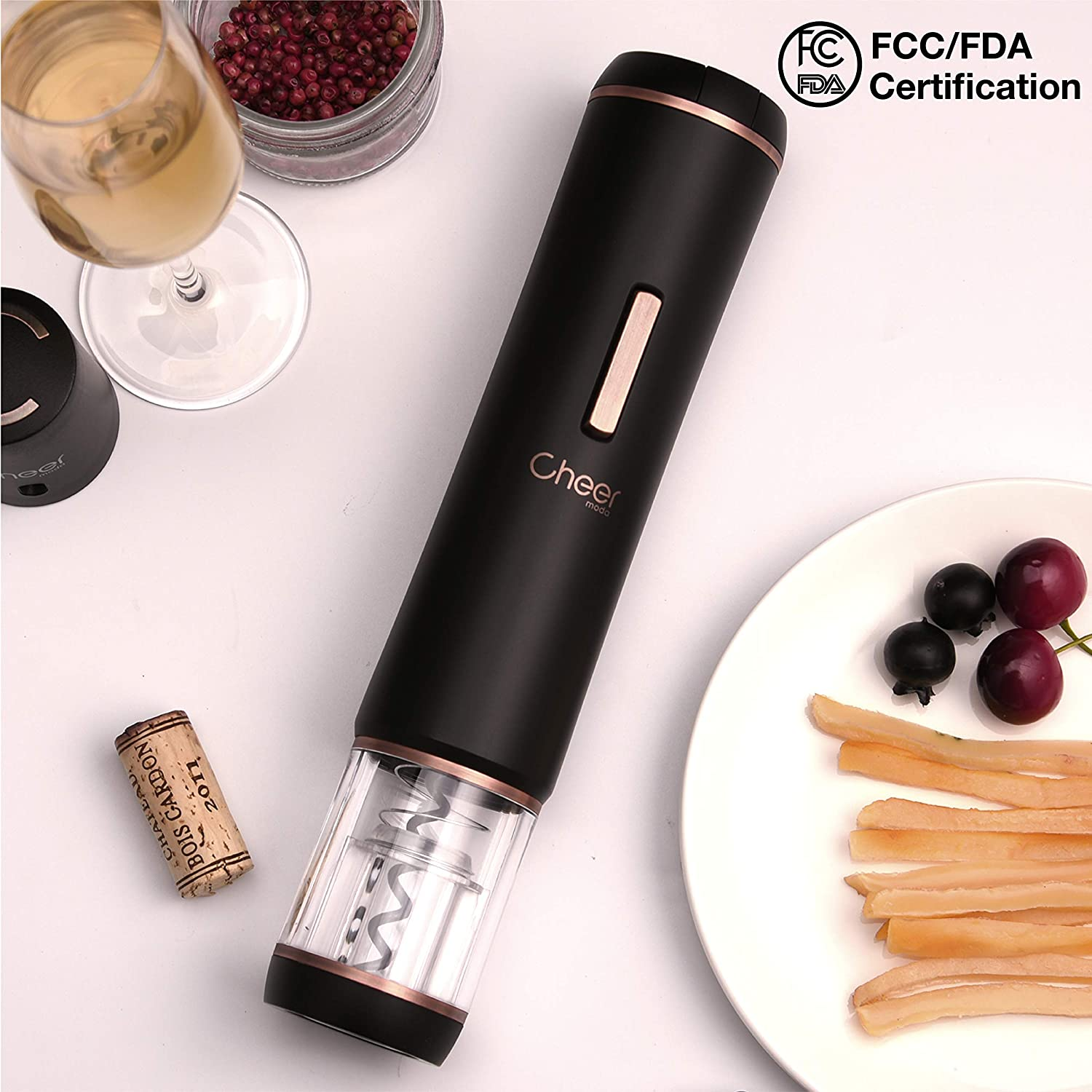 Cheer moda Electric Wine Opener Gold Winner of Good Design Award with with Magnetized Foil Cutter On
