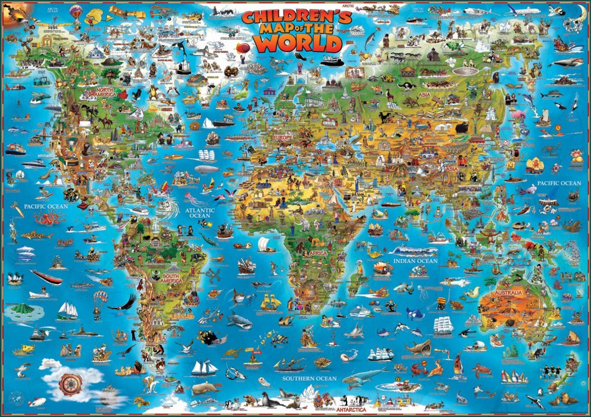 Childrens Map Of The World Flat Laminated Map Dino Dino Wall Maps - Childrens wall map