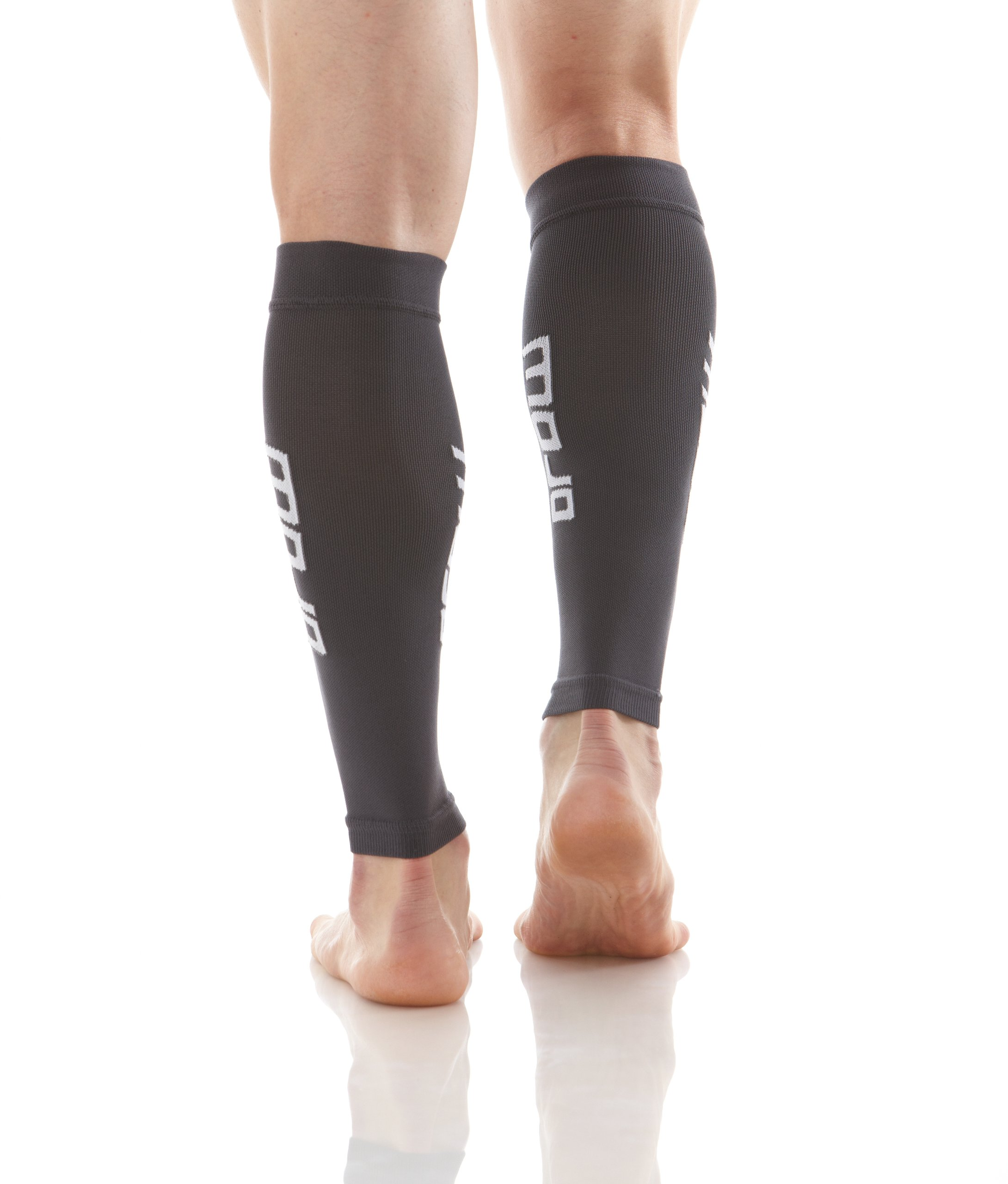 Compression Calf Sleeve, Pair of 2 Sleeves for Calf Strains, Running, Shin Splints, Varicose Veins, Injury Recovery & Prevention, 20-30mmHG, Mojo Compression (Black/Large) (Medium, Gray)
