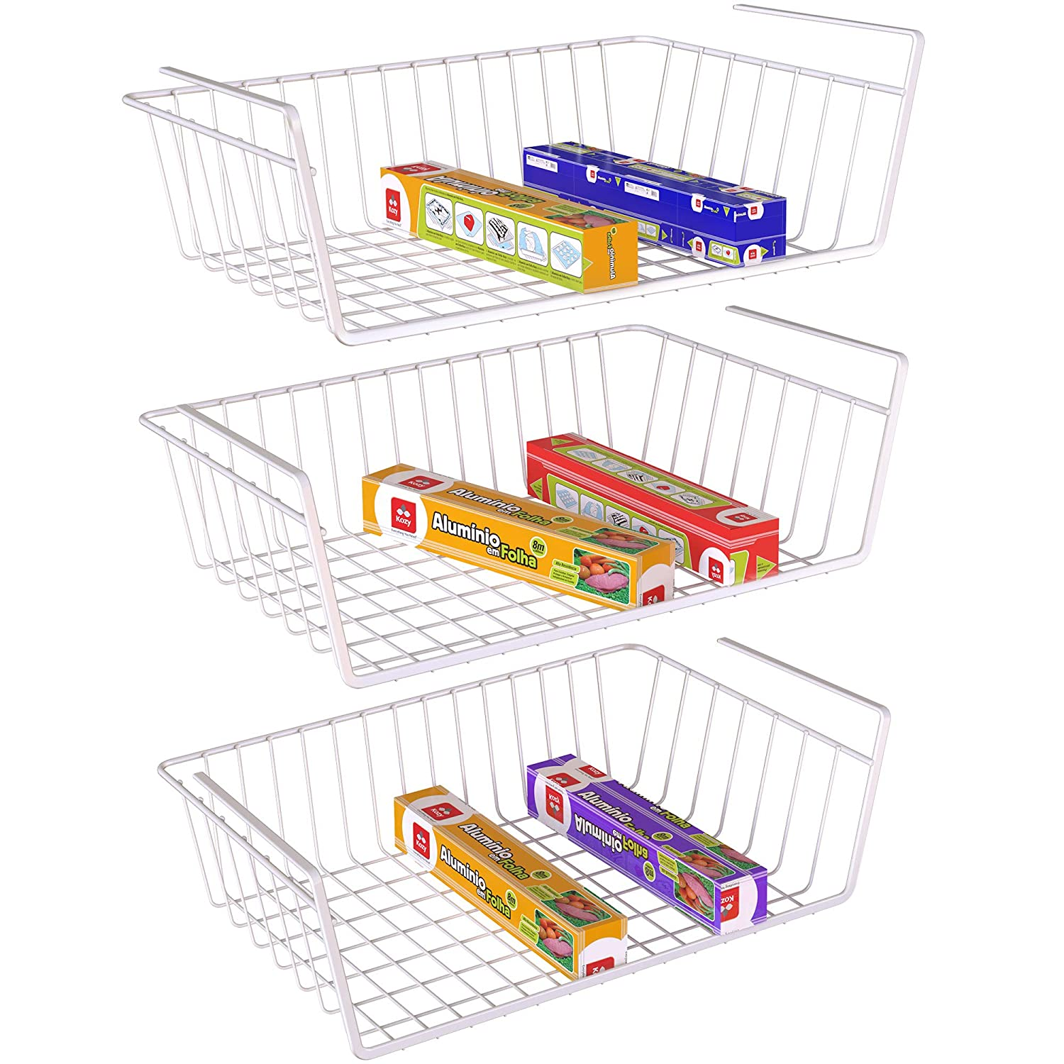 Lifinity Under Shelf Basket, Anti Rust Wire Rack White Wire Storage Basket for Pantry Cabinet Closet Desk Bookshelf Cupboard, 3 Pack