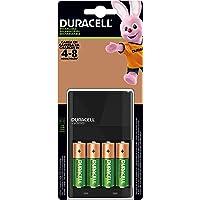 Duracell Cargador para Pilas Recargables Pre-cargadas AA y AAA, Incluye 1 Cargador y 4 Pilas AA