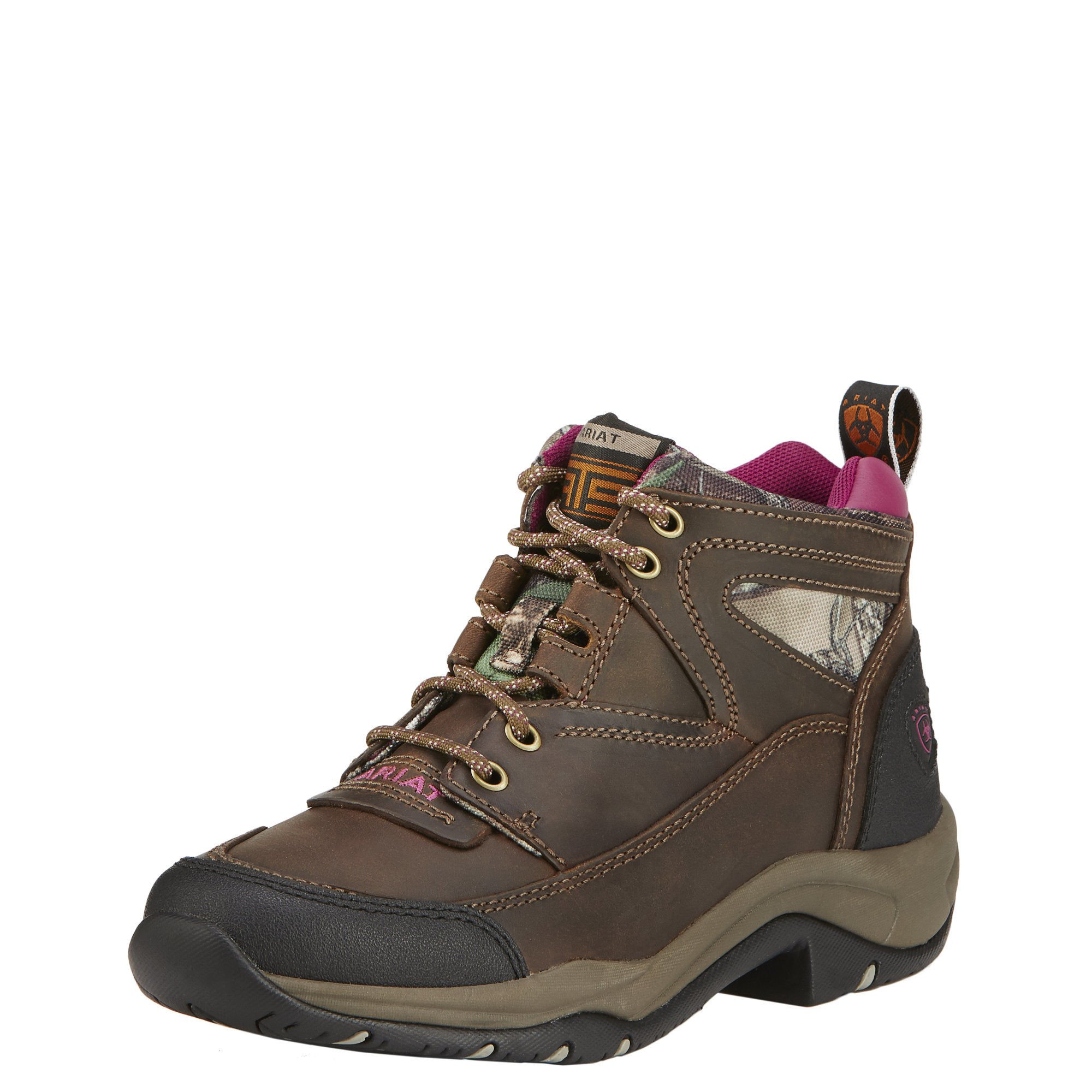 Ariat Women's Terrain Hiking Boot, Pink Multi/True Timber, 7.5 M US