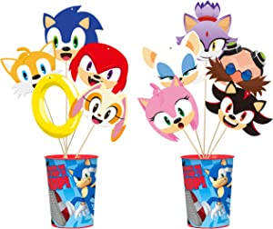 Sonic Desktop Decor 30P Hedgehog Supplies Party Table Decorations Party Favor Children Happy Birthday Gifts Colorful Party Ornament for Boys Girls