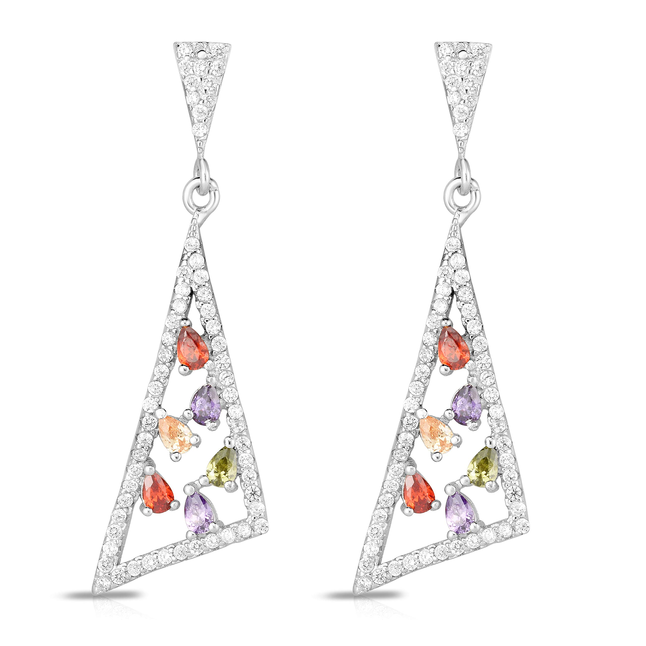 Unique Royal Jewelry 925 Sterling Silver White Cubic Zirconia and Multi-Color Glass Stones Triangle Shape Earrings. (Rhodium-Plated-Silver)