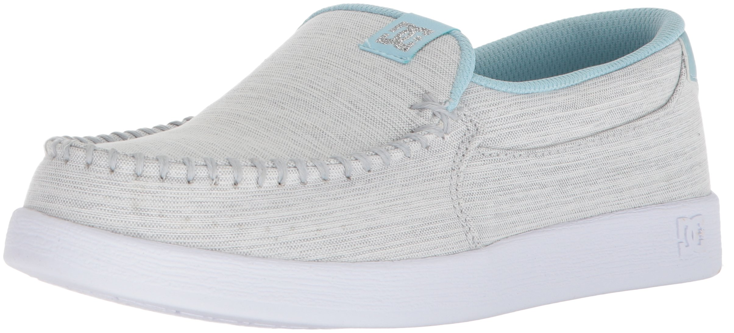 DC Women's Villain TX SE Skate Shoe, Light Grey/Blue, 10 B US