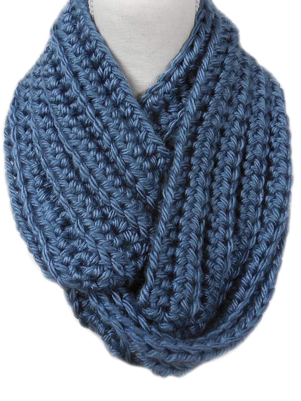 f06f6a0aaab Amazon.com: Warm N Soft Denim Blue Chunky Infinity Cowl Scarf ...
