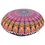 "Large 32"" Round Pillow Cover, Decorative Mandala Pillow Sham, Indian Bohemian Ottoman Poufs, Pom Pom Pillow Cases, Outdoor Cushion Cover (Pattern 8)"