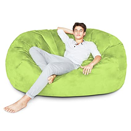 Swell Lumaland Luxury 6 Foot Bean Bag Chair With Microsuede Cover Light Green Machine Washable Big Size Sofa And Giant Lounger Furniture For Kids Teens Pabps2019 Chair Design Images Pabps2019Com