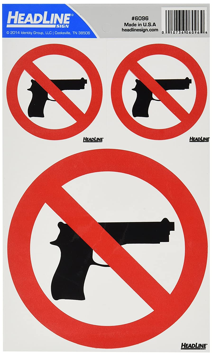 Amazon.com: Titular Self-Stick señal de prohibido Guns Decal ...