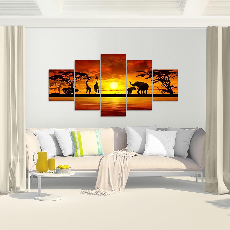 Runa Art Bilder Afrika Sonnenuntergang Wandbild Vlies Leinwand