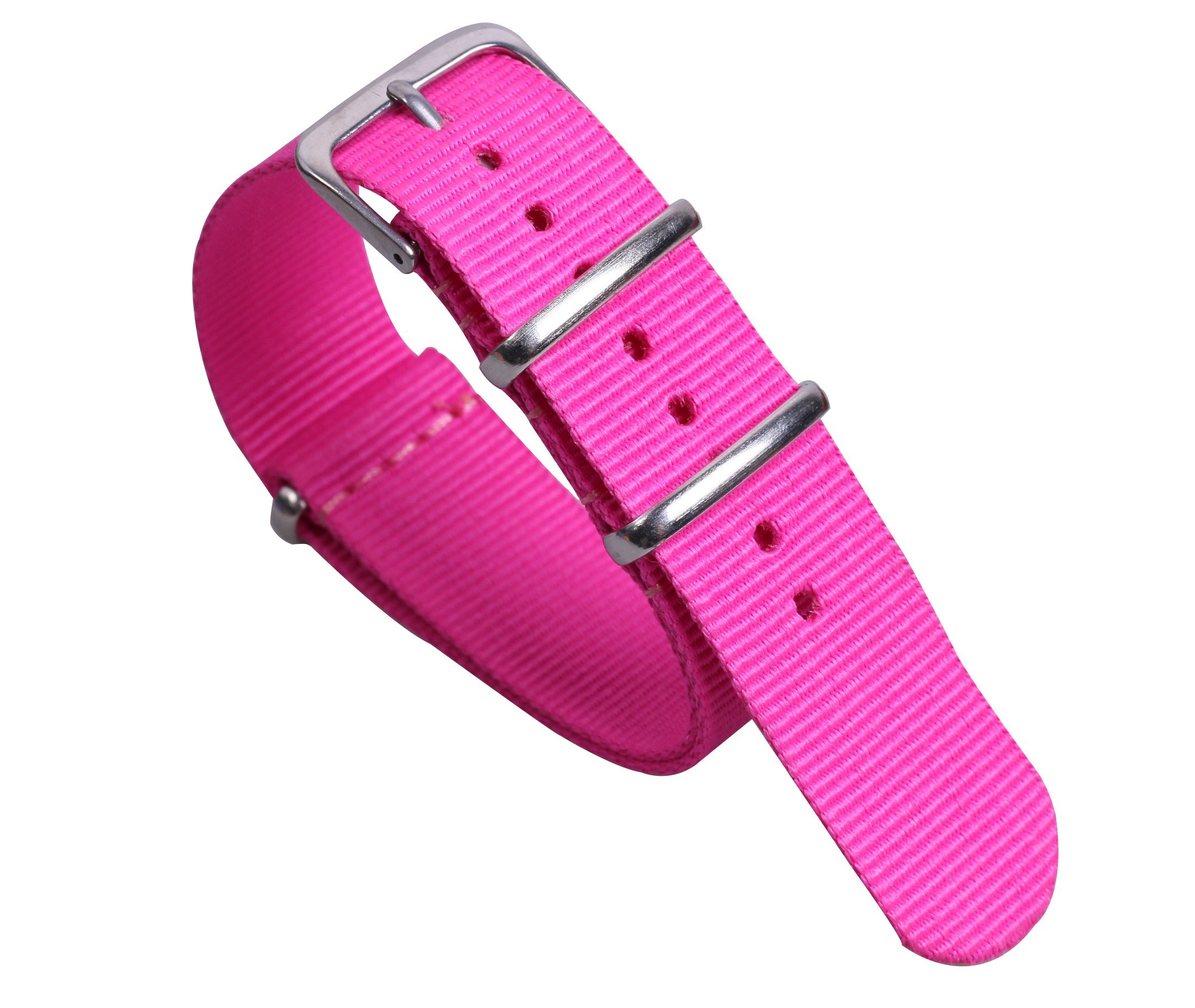 20mm Rose Red Lovely Sweet Girls' NATO Style Nylon Canvas Watch Bands Straps Replacement for Girls